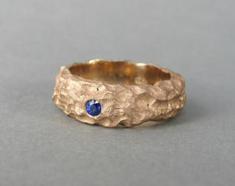 Men's engagement ring, unique rustic sapphire engagement ring, solid 14k matte textured organic gold chunky ring, rose, yellow, white gold