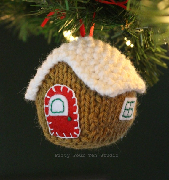 Knitting Pattern Christmas Ornament Gingerbread House