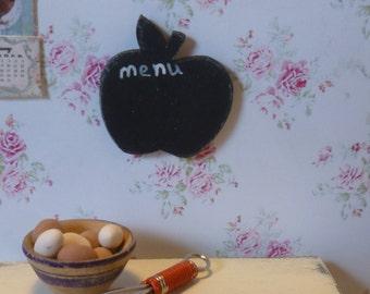 Miniature Apple Chalkboard for Dollhouse