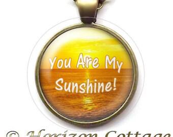 Beach Sunset Jewelry, You Are My Sunshine Art Pendant, Ocean Scene Necklace, Wearable Beach Art, Beach Souvenir Gift, Your Choice of Finish