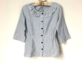 Charming Vintage Style, Audrey Hepburn Ruffle Collared Striped Blouse, Parisian Chic, Navy Blue and White Striped, Nautical Button Up Front