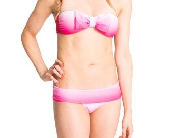 Bow Bandeau Bikini - Pink Ombre