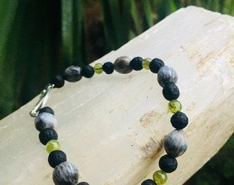 Peridot/Lava Job's tear bracelet