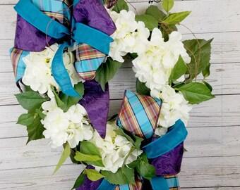 "22"" White Cream Hydrangea Front Door Wreath"