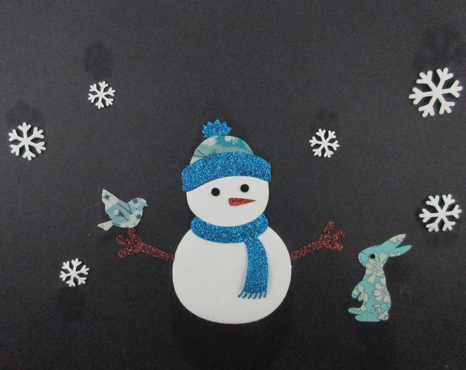 Applied fusible snowman velvet fabric white fabric spangled patch pattern Christmas iron-on applique liberty Mitsi Capel