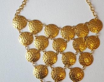 VINTAGE Gold Tone Bib Necklace / Gypsy Jewelry / Chandelier Necklace