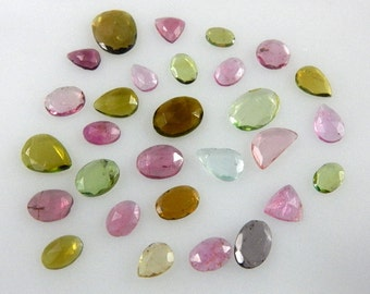 Tourmaline Rose Cut Slice Gemstone AAA Quality Size - 6 to 10MM 29Pc - Outstanding Multi Color  Wholesale Price