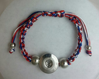 Red White Blue Smaller Wrists Child  Friendship Snap Bracele w/ Lobster Claws Snap It  Interchangeable w/ 18mm 20mm  Popper Button Chunk