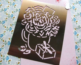 Bouquet of garden scrapbooking steel stencil painting