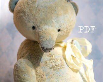teddy bear pattern, OOAK Artists Teddy Bear pattern, pdf pattern, teddy pattern, teddy bear pattern, plush bear, soft toy pattern