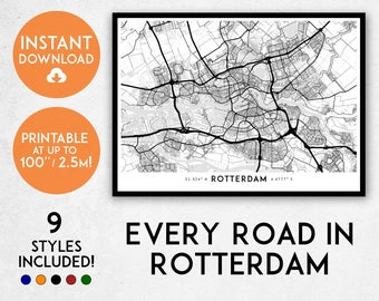 Rotterdam map print, Printable Rotterdam map art, Rotterdam print, Rotterdam art, Rotterdam poster, Rotterdam wall art, Netherlands map