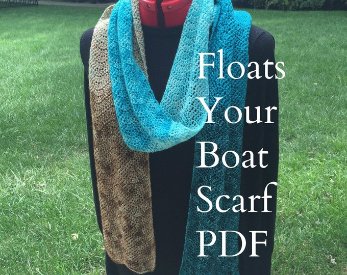 PDF Floats Your Boat Ripple Scarf Crochet Pattern Sock Yarn Digital Download fingering weight yarn gradient mini skein pdf treasure goddess