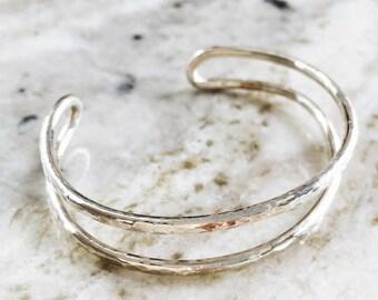 Nalukea cuff bracelet - sterling silver bracelet, silver bracelet cuff, stackable bracelet, cuff bracelet, everyday bracelet, maui, hawaii