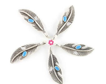 Charm pendant silver feather turquoise 37x11mm glaze (279D) 6 x