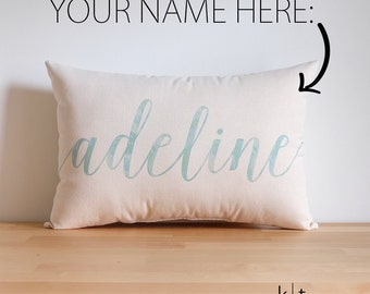 Custom Name Cotton Canvas Pillow - Child's Name Pillow - Nursery Decor - Baby Shower Gift - Child's Room Decor - Birthday Gift - Home Decor