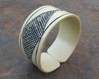 Vintage African Carved Bangle Bracelet made from RECYCLED PVC Pipe