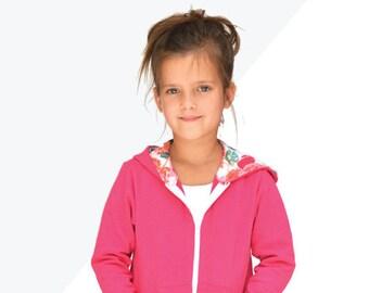 Hatteras Hoodie, knit sweatshirt for boys or girls with hoodie, hood, hi-low hem, kangaroo pocket pdf sewing pattern