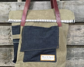 Waxed Canvas Bag, Canvas and Leather Tote, Tote Bag, Wax Canvas Tote, Purse, Canvas Bag, Waxed Canvas and Leather Bag, Shoulder Bag, Canvas