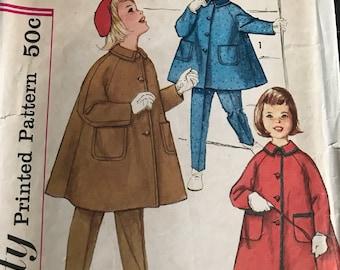 Vintage 50s Simplicity 3654 Girl's Coat/Pants Pattern-Size 5 (23 1/2-21 1/2)