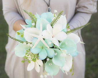Silk Flower Wedding Bouquet - Aqua Mint Robbin's Egg Natural Touch Calla Lilies Plumerias - Crystals and Starfish Silk Bridal Bouquet