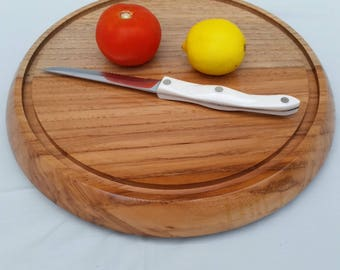 Wooden cutting board,custom made cutting board,round cutting board,Pecan cutting board,large cutting board,solid wood cutting board, DRW-177