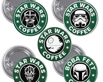 "Star Wars Starbucks 1"" Pinback Buttons Set of 5"