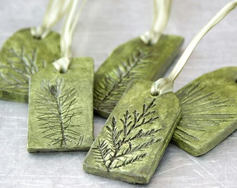 Ceramic Ornaments with Natural Plant Impression Christmas Holiday Decoration Green Small - Set of 5