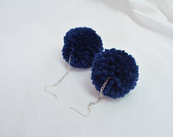 Navy Pompom Earrings