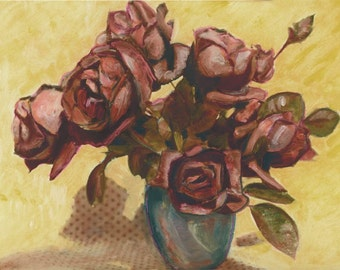 Vintage Roses in Blue Vase Painted Photography