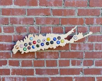 Long Island Beer Cap Map - Craft Beer Bottle Cap Holder - New York Beer Cap Collector Art