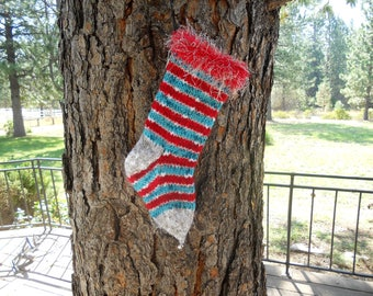 Fireworks Hand Knit Christmas Stocking