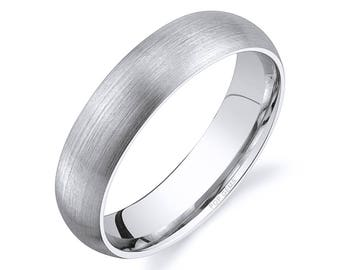 14k White Gold Band (5mm) / PLAIN / Matte Brushed Rounded Dome + Comfort Fit / Men's Women's Wedding Ring