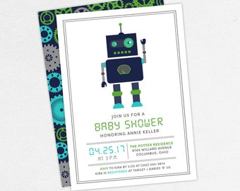Robot Baby Shower Invitation, Neutral Baby Shower, Boy Baby Shower, Printable Invitation, PDF Invitation, Blue, Green, Teal, Gears, Gear Up