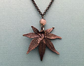 Real Leaf necklace with gunmetal chain and a moss agate bead