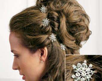 Rhinestone & Crystal Snowflake Hair Picks Winter Wedding - Pkg of 2