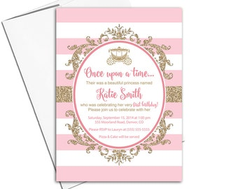 pink and gold princess birthday invitation for girls | printable or printed | glitter first birthday party invitations - WLP00365