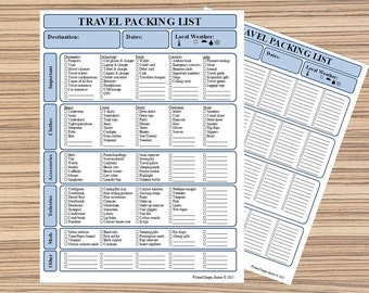 travel items list