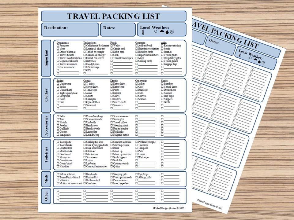 Packing List Travel Checklist Packing Planner Vacation