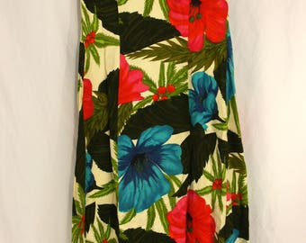 Vintage Waltah Clarke's Hawaiian Shop Multi Colored Tropical Floral Maxi Dress - 12 14