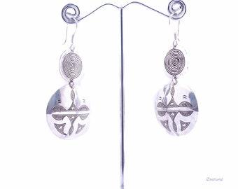 Tuareg silver earrings, ethnic tribal engraving Tuareg