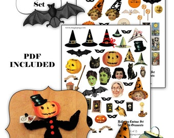 Halloween Chenille Ornaments digital collage sheet  set -- two sheets and a PDF tutorial
