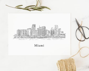Miami Cityscape Print, Miami Wall Art, Miami skyline, art, drawing, Florida, housewarming gift, moving gift, farewell gift, going away gift