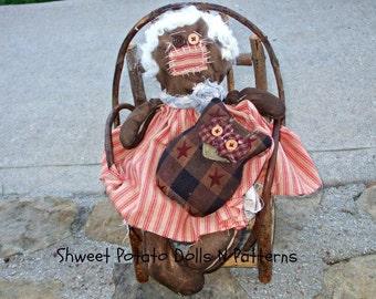 Primitive Americana Raggedy Annie Owl Cloth Doll Set