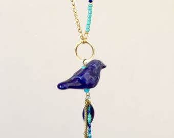 Turquoise and Royal Blue ceramic bird necklace