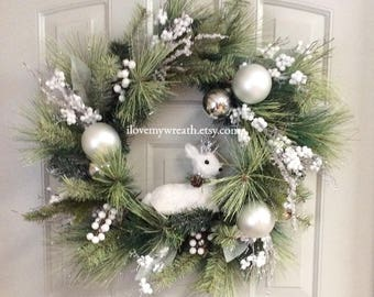 reindeer wreaths, winter white wreaths, holiday wreaths, Christmas wreath for front door, snow wreaths, holiday decor, wreath for front door