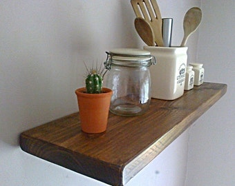 Kitchen Floating Wall Shelf / Shelves - Oak, Pine, White Natural Wax - ** FREE UK DELIVERY **