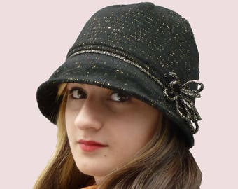 SEWING PATTERN: Mod Cloche Hat with Flower Trim, Soft and Warm Beanie Hat with Wired Brim