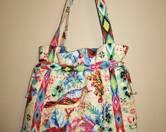 Handmade Quilted Purse Amy Butler Fabric Beaded Boho Trim in Pink & Blue