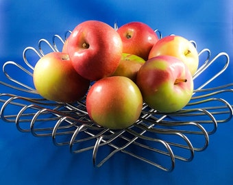 Mid Century Chrome Bent Wire Fruit Bowl