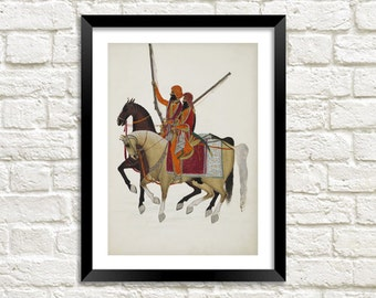 CAVALRY HORSE PRINT: Asian Art Illustration Wall Hanging (A4 / A3 Size)
